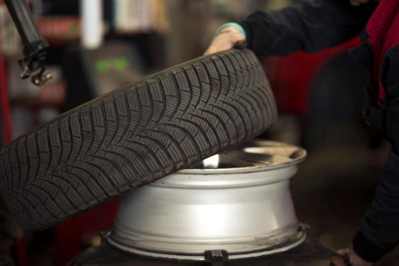 How to remove a tire from a rim.