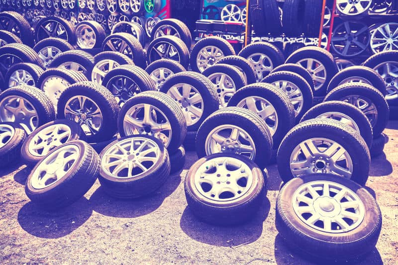 Different types of car rims.