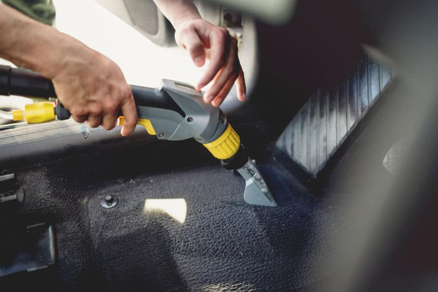 How to clean and dry wet car carpets.