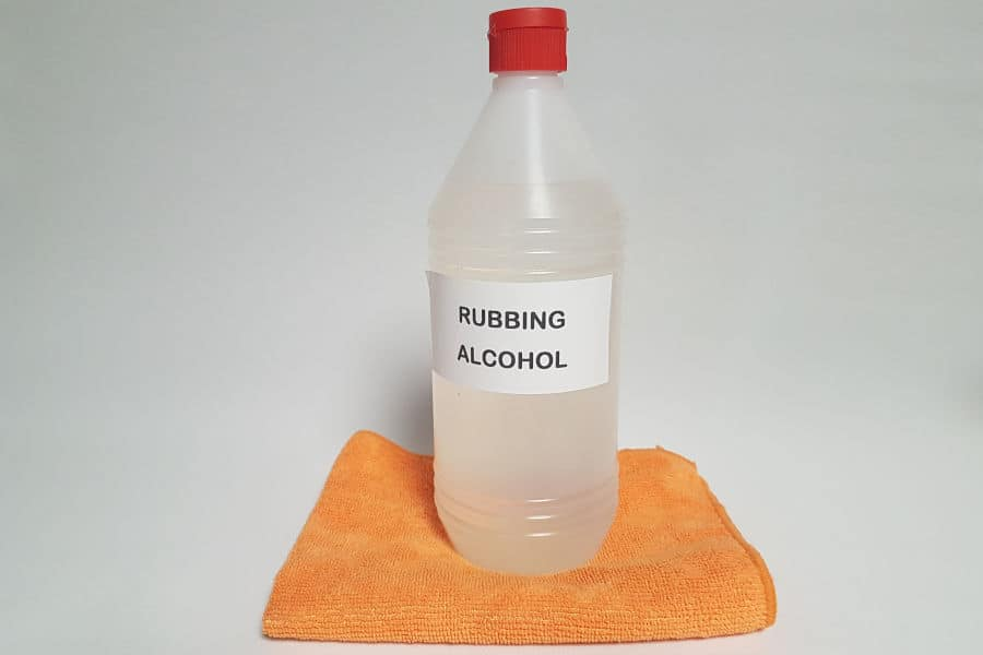 Rubbing alcohol used as dashboard cleaner.