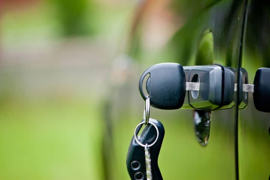 Car keys in the car lock.