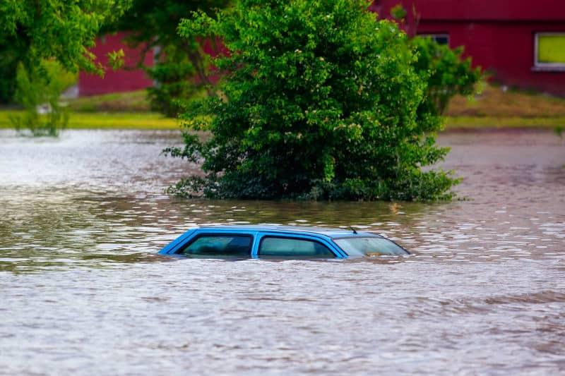 Opening car door underwater.